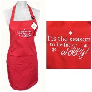 Fat And Jolly Christmas Apron Red Holiday New